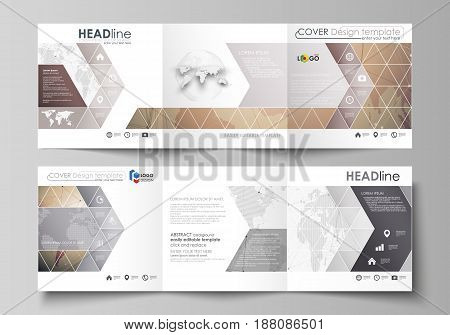 The minimalistic vector illustration of the editable layout. Two modern creative covers design templates for square brochure or flyer. Global network connections, technology background with world map