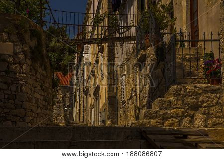 Beautiful Stone Street in a Old Town of the Mediterranean