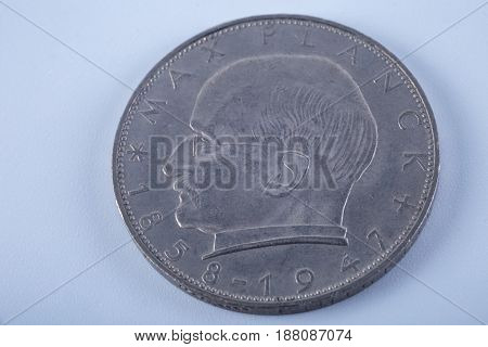 Two german marks vintage coin isolated on white background