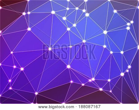 Purple lilac pink abstract low poly geometric background with white triangle mesh and defocused lights.