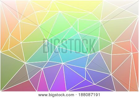 Light rainbow abstract low poly geometric background with white triangle mesh.