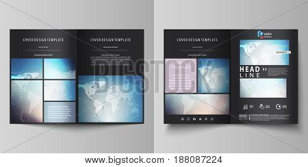 The black colored vector illustration of the editable layout of two A4 format modern covers design templates for brochure, flyer, booklet. Polygonal geometric linear texture. Global network, dig data concept.