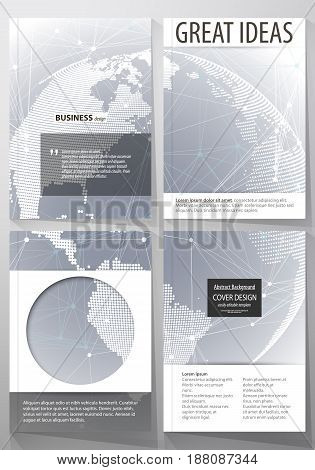 The vector illustration of the editable layout of four A4 format covers with the circle design templates for brochure, magazine, flyer. Abstract futuristic network shapes. High tech background