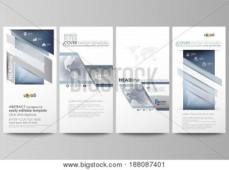The minimalistic abstract vector illustration of the editable layout of four modern vertical banners, flyers design business templates. Abstract futuristic network shapes. High tech background