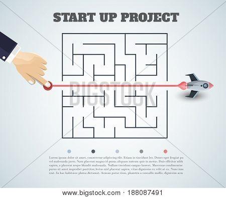 Business Concept Backgroind. 3D Rocket Finding A Solution, Problem Solving.vector Illustration.