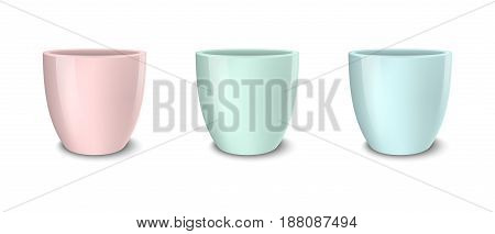 Realistic vector empty flower pot set, pastel colors - pink, green and blue. Closeup isolated on white background. Design template for branding, mockup. EPS10 illustration.