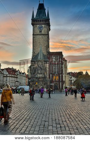 CZECH REPUBLIC, PRAGUE - OCTOBER 02, 2017: The appearance of a wonderful European city. Prague Old Town Square and Church of Mother of God before Tyn in Prague, Czech Republic. Architecture and landmark of Prague, postcard of Prague.