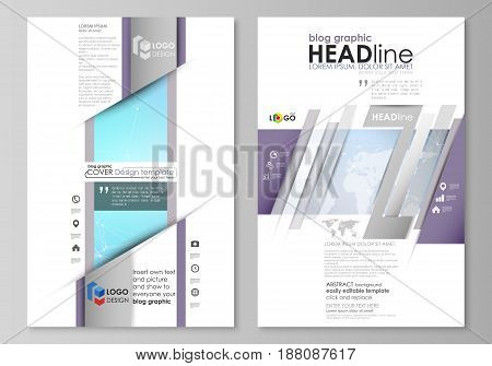 The abstract minimalistic vector illustration of the editable layout of two modern blog graphic pages mockup design templates. Polygonal texture. Global connections, futuristic geometric concept