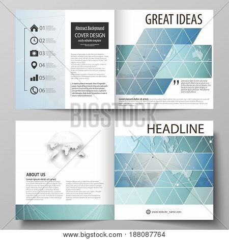 The vector illustration of the editable layout of two covers templates for square design bi fold brochure, magazine, flyer, booklet. Chemistry pattern, connecting lines and dots. Medical concept