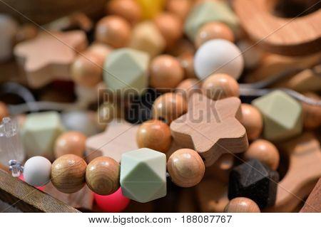 Wooden bijouterie beads close up beautiful decorations