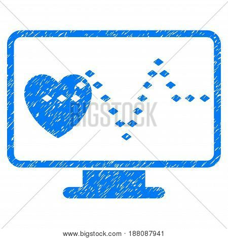 Grunge Cardio Monitoring icon with grunge design and scratched texture. Unclean vector blue pictogram for rubber seal stamp imitations and watermarks. Draft emblem symbol.