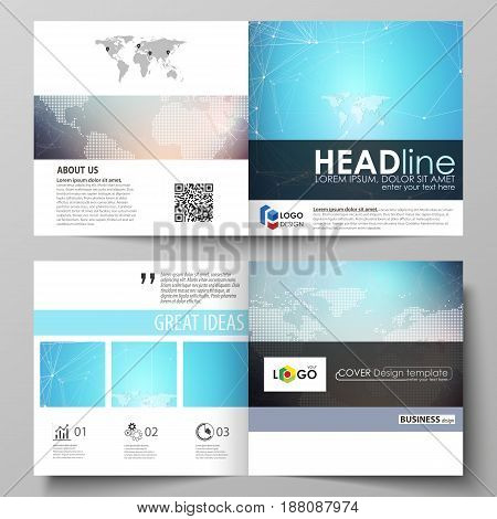 The minimalistic vector illustration of the editable layout of two covers templates for square design brochure, flyer, booklet. Molecule structure. Science, technology concept. Polygonal design