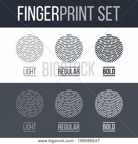 Abstract Fingerprint Icons Set Sci-Fi Future Identification Authorization System on Dark and White Background