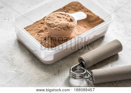 Fitness nutrition with bars on stone table background