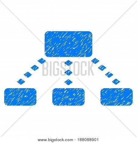 Grunge Dotted Scheme icon with grunge design and unclean texture. Unclean vector blue pictogram for rubber seal stamp imitations and watermarks. Draft sticker symbol.