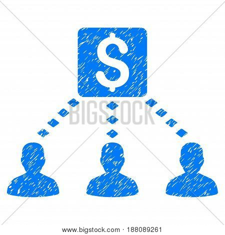 Grunge Money Recipients icon with grunge design and scratched texture. Unclean vector blue pictogram for rubber seal stamp imitations and watermarks. Draft sticker symbol.