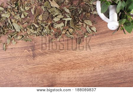Dried And Fresh Green Mint With Mortar, Healthy Lifestyle Concept, Copy Space For Text