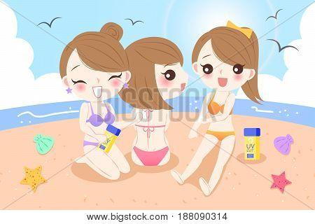 beauty cartoon women with sunscreen on the beach