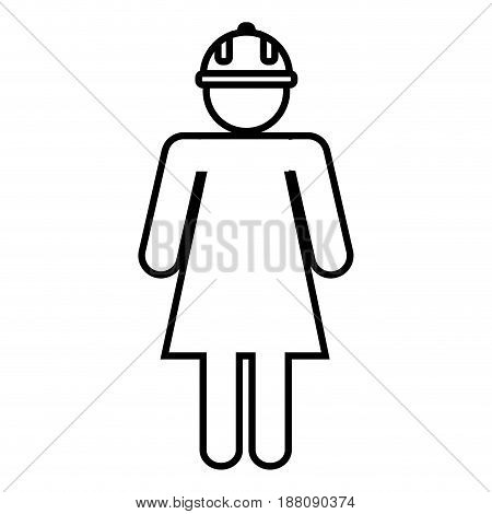 pictogram woman with safety helmet icon over white background. vector illustration