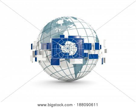 Globe With Flag Of Antarctica Isolated On White