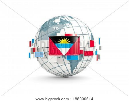Globe With Flag Of Antigua And Barbuda Isolated On White