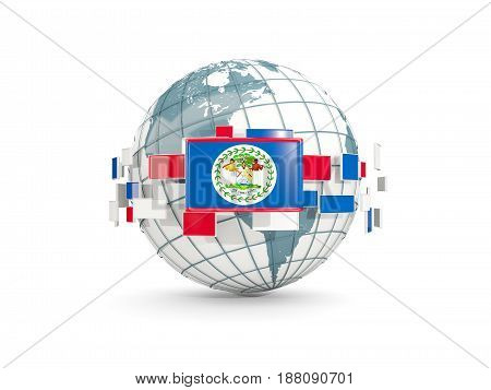 Globe With Flag Of Belize Isolated On White