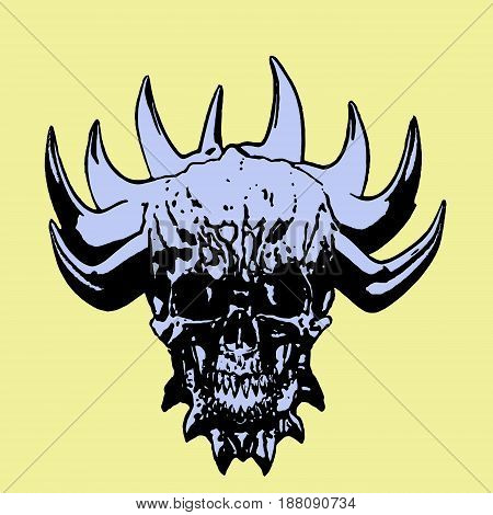 demon skull with corona of thorns. vector illustration. yellow background