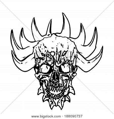 Apocalyptic demon skull with horns. Vector illustration white background.
