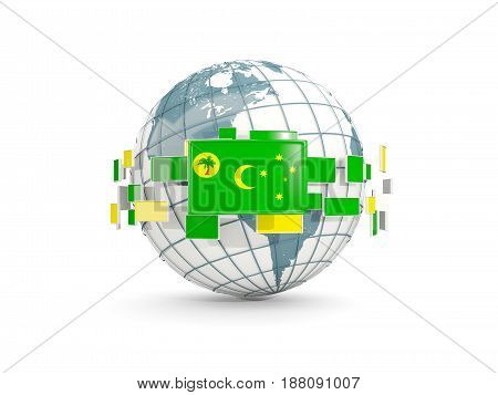 Globe With Flag Of Cocos Islands Isolated On White