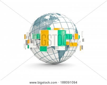 Globe With Flag Of Cote D Ivoire Isolated On White