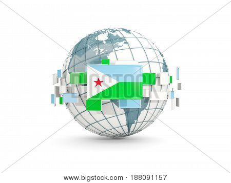 Globe With Flag Of Djibouti Isolated On White