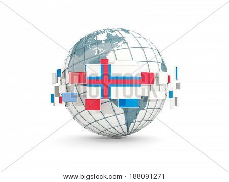 Globe With Flag Of Faroe Islands Isolated On White