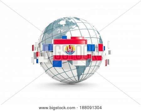 Globe With Flag Of French Polynesia Isolated On White