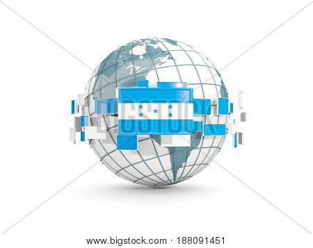 Globe With Flag Of Honduras Isolated On White