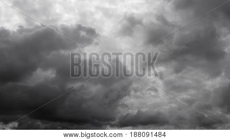 Cloudy overcast sky. Clouds flying over horizon cloudscape.
