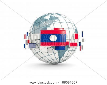 Globe With Flag Of Laos Isolated On White