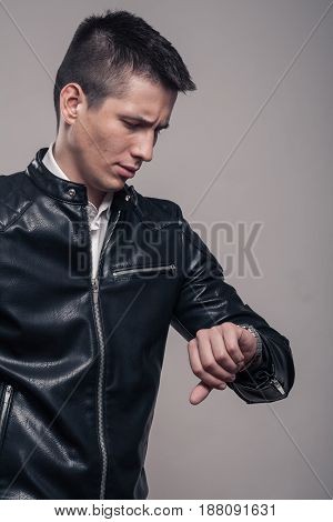 Young Man, Looking To Watch, Leather Jacket,