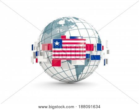 Globe With Flag Of Liberia Isolated On White