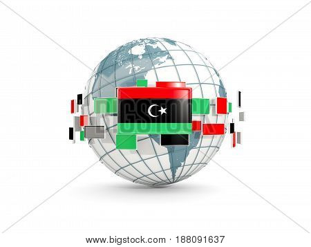 Globe With Flag Of Libya Isolated On White