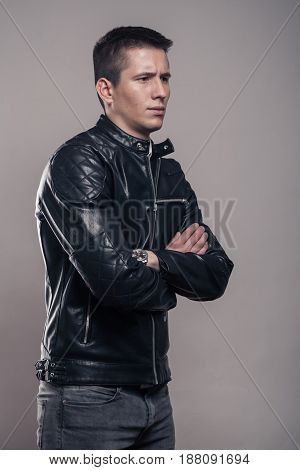 Young Man, Sideways, Looking Sideways ,leather Jacket,