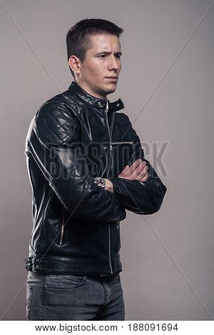 Young Man, Sideways, Looking Sideways ,leather Jacket,