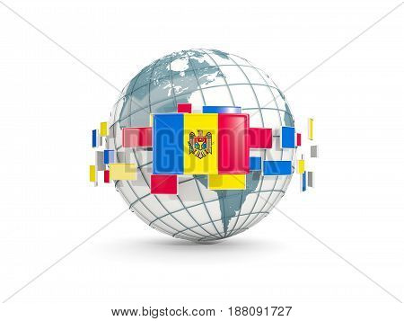 Globe With Flag Of Moldova Isolated On White