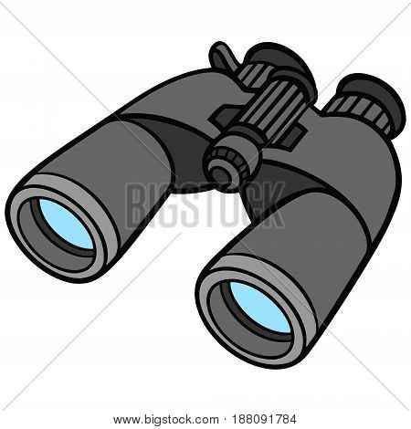 A vector illustration of a pair of binoculars.