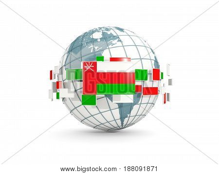Globe With Flag Of Oman Isolated On White