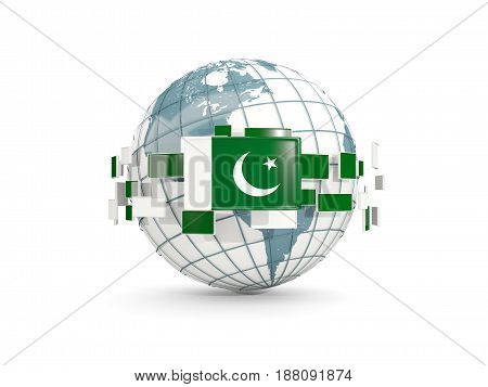 Globe With Flag Of Pakistan Isolated On White
