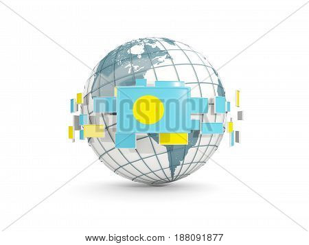 Globe With Flag Of Palau Isolated On White