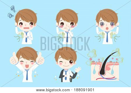 cute cartoon man with body odor problem on blue background