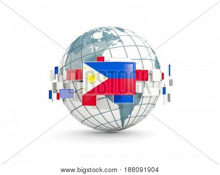 Globe With Flag Of Philippines Isolated On White