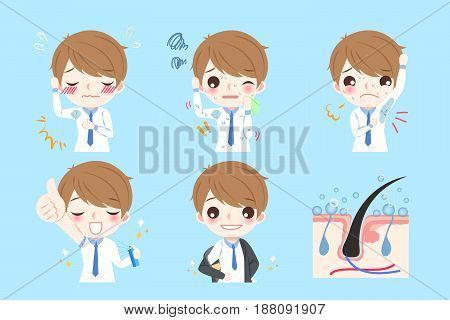 cute cartoon man with armpit problem on blue background