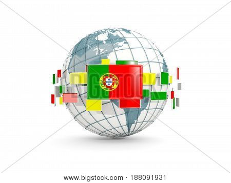 Globe With Flag Of Portugal Isolated On White